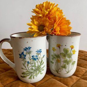 Vintage Boho Flower Speckled Mugs